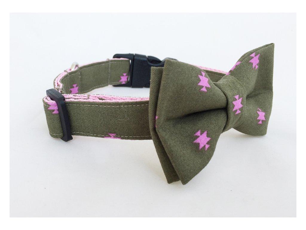 Obojek khaki s růžovou pro pejska + motýlek