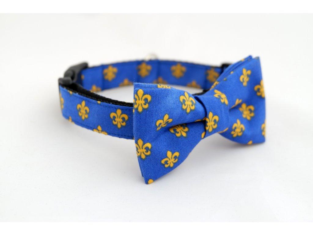 Obojek s motýlkem královská lilie modrá