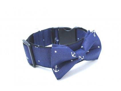 Široký obojek modrý s kotvičkami pro pejska + motýlek