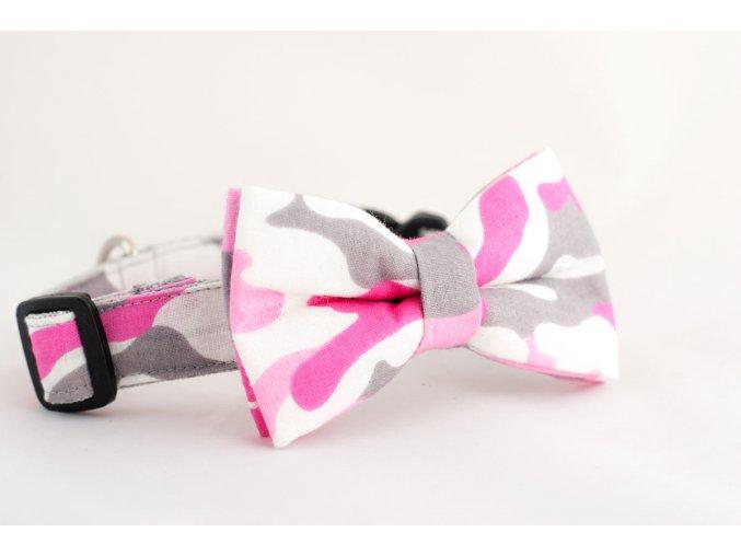 Obojek růžový maskáč pro pejska + motýlek
