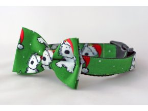 Obojek vánoční santa pejsek + motýlek