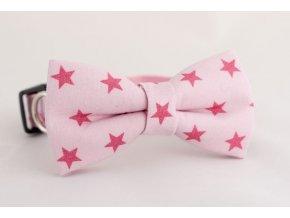 Obojek růžové hvězdičky pro pejska + motýlek
