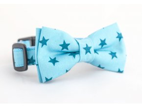 Obojek modré hvězdičky pro pejska + motýlek