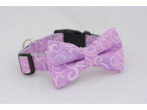 Obojek fialový s ornamenty pro pejsky +motýlek