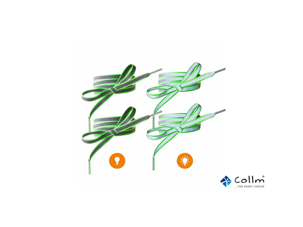 Reflexní tkaničky do bot zelené