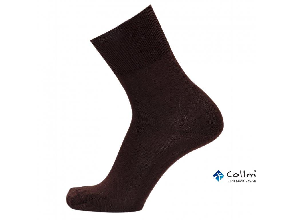 Ponožky BIO COTTON s neškrtícím lemem - hnědé - COLLM.CZ de07afa925