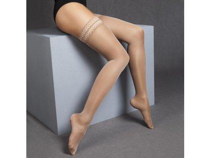 Podpůrné kompresní punčochy s krajkou MAXIS 140DEN (Velikost S výška 153-158 cm, obvod stehna 45-51 cm, Barva Černá)