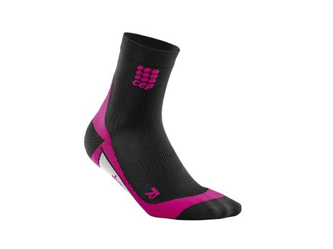 Kompresní ponožky CEP dámské, černá/růžová (Velikost Velikost II. - Obvod přes kotník 18 - 20 cm)
