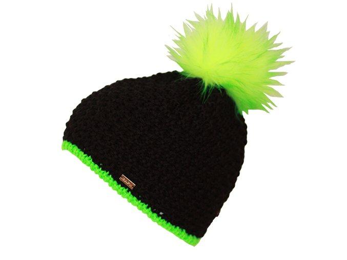 Pletená čepice černá se zelenou bambulí