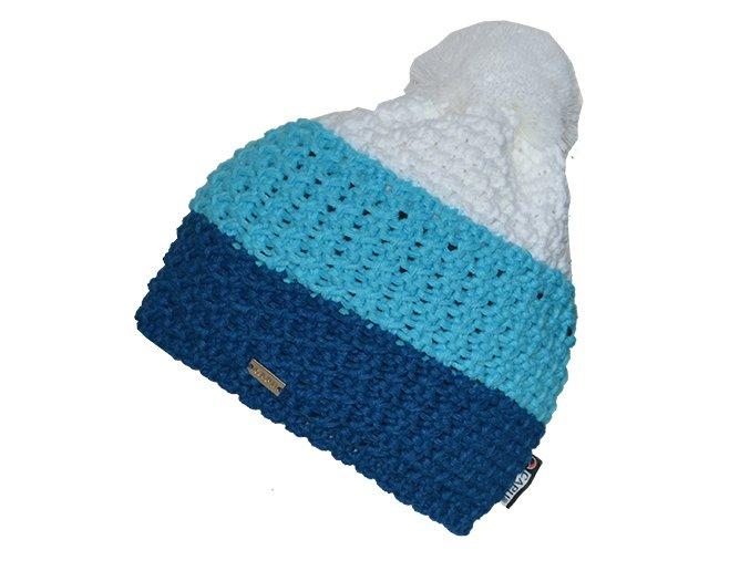 Zimní čepice s bambulí modro-bílá