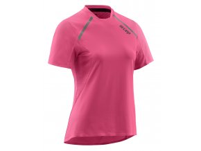 Dámské běžecké triko CEP s krátkým rukávem růžové