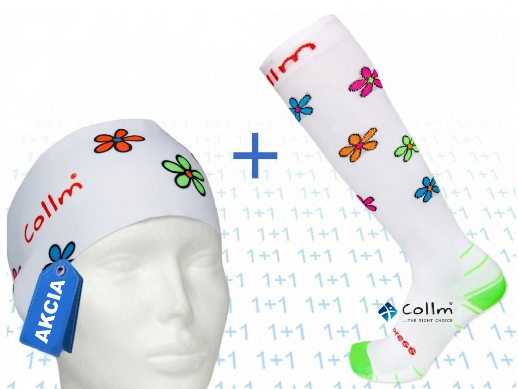 Set podkolienky + čelenka ACTIVE kvety