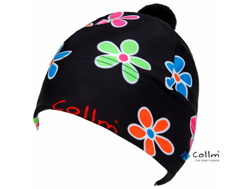 čiapka kvety čierne