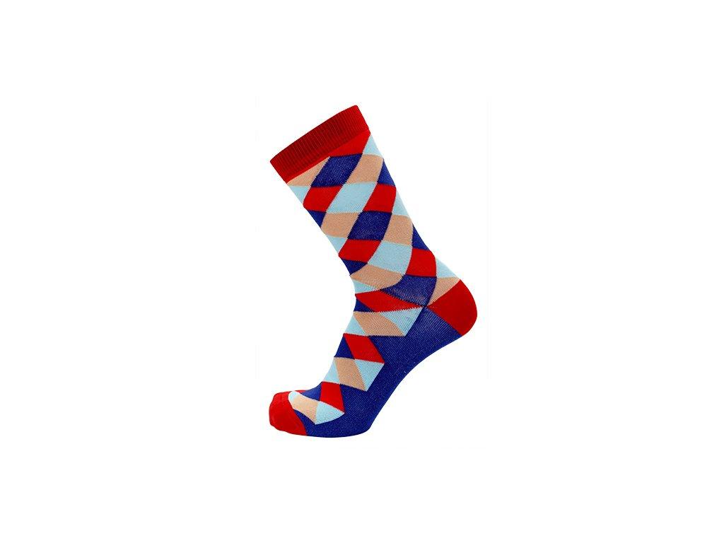 Vzorované bavlněné ponožky COLLM - kárované (Velikost S 4-5 (37-38))