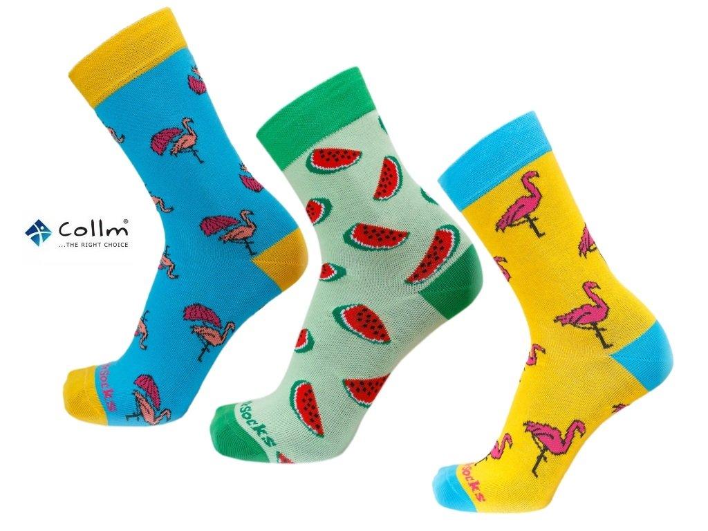 Farebné ponožky STYLE SOCKS set 3 páry plameniaky