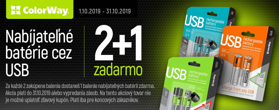 2+1 nabijatelne baterie cez USB