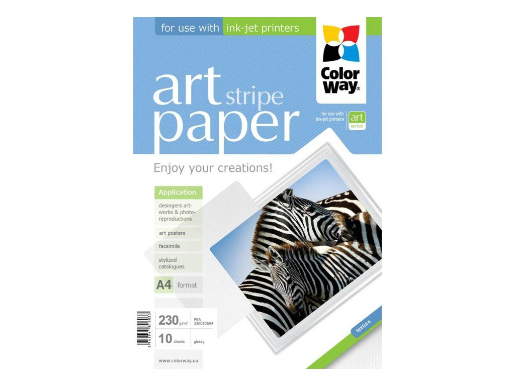 """Fotopapier CW ART Lesklý """"Stripe"""" 230g/m²,10ks,A4"""