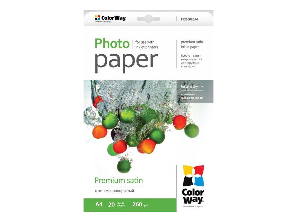 Fotopapier CW Saténový,mikroporézny 260g/m²,20ks,A4