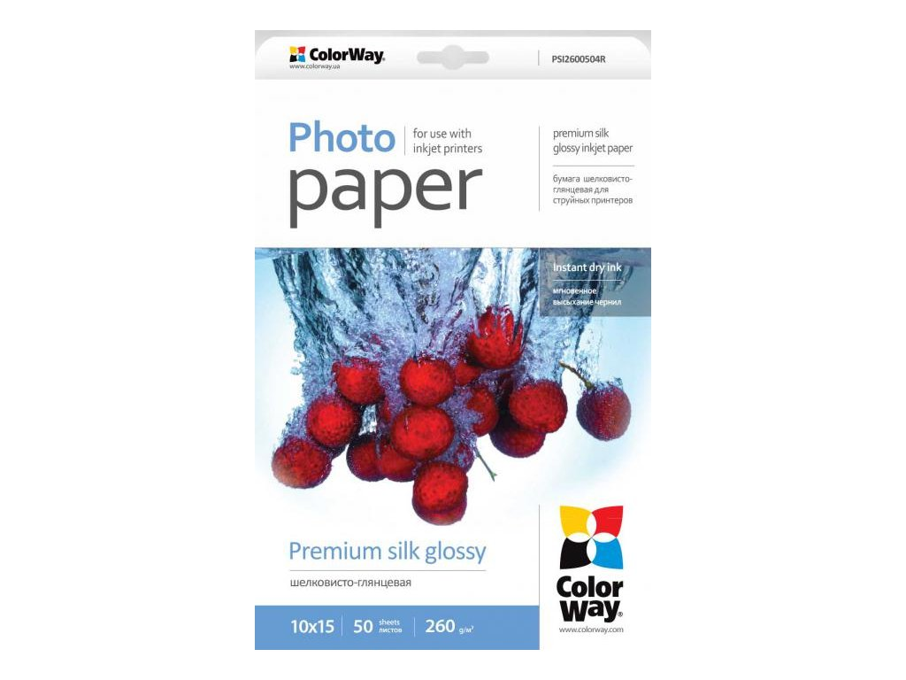Fotopapier CW Super lesklý hodváb 260g/m²,50ks,10x15