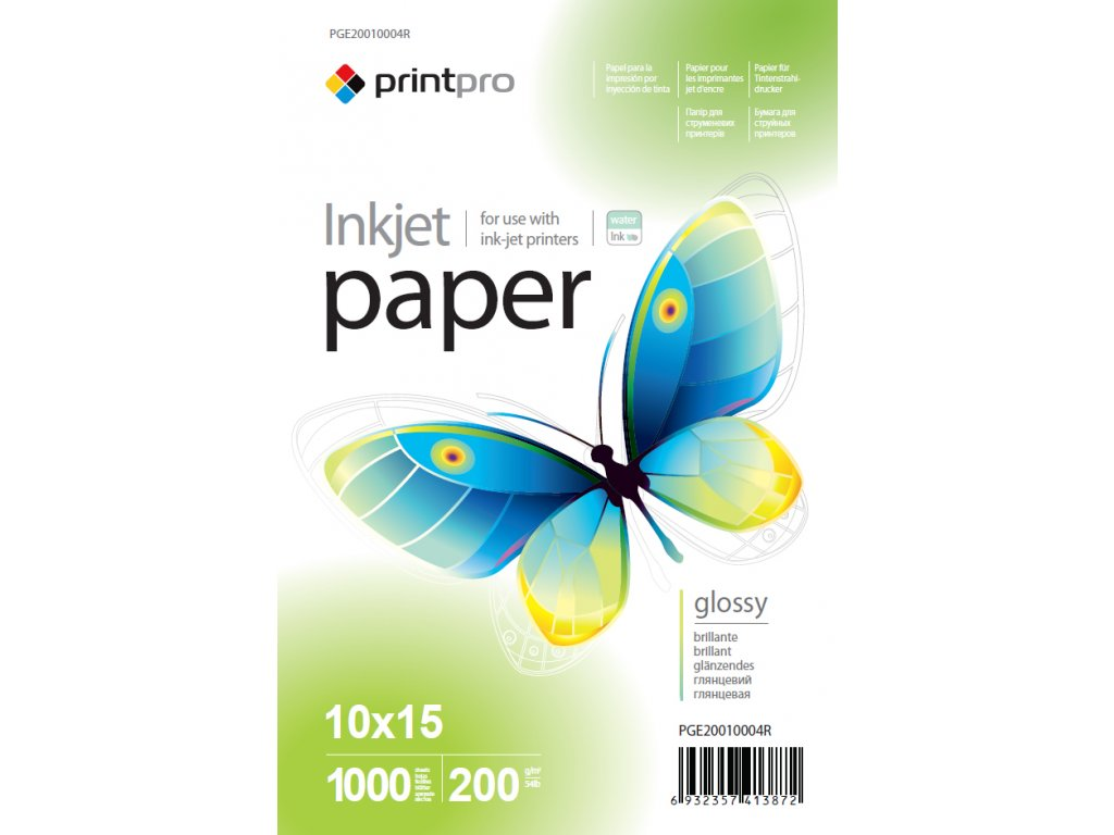 Fotopapier PrintPro Vysoko lesklý 200g/m²,1000ks,10x15