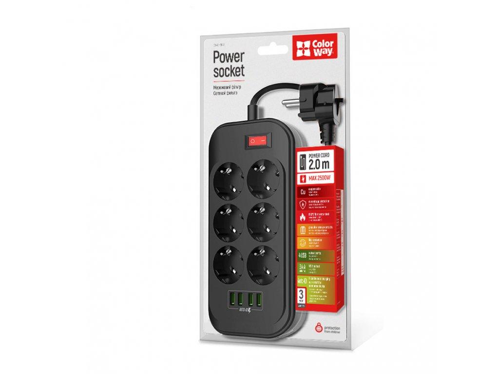 Predlžovací kábel CW 6x eurozásuvka, 4x USB čierna + darček CW-6200