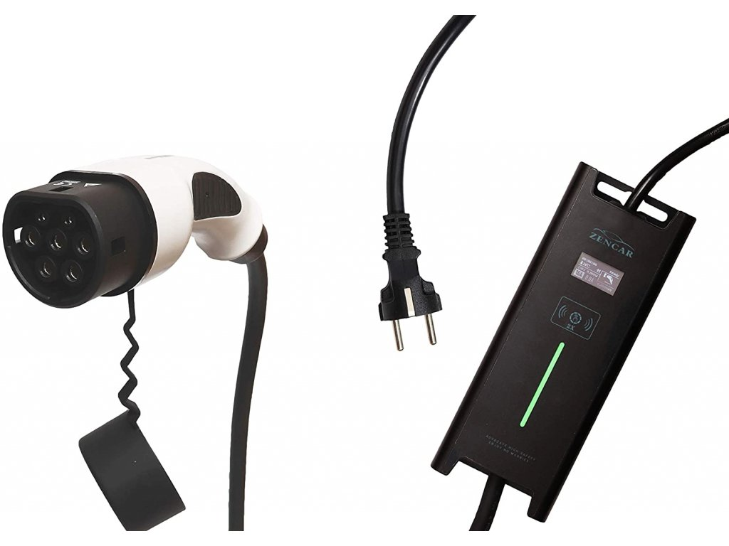 ZENCAR EVSE nabíjačka Typ 2, Schuko 230V, 3,6 kW pre elektrické autá, prepínateľný box 6A/8A/10A/12A /16A s displejom, dĺžka 5m