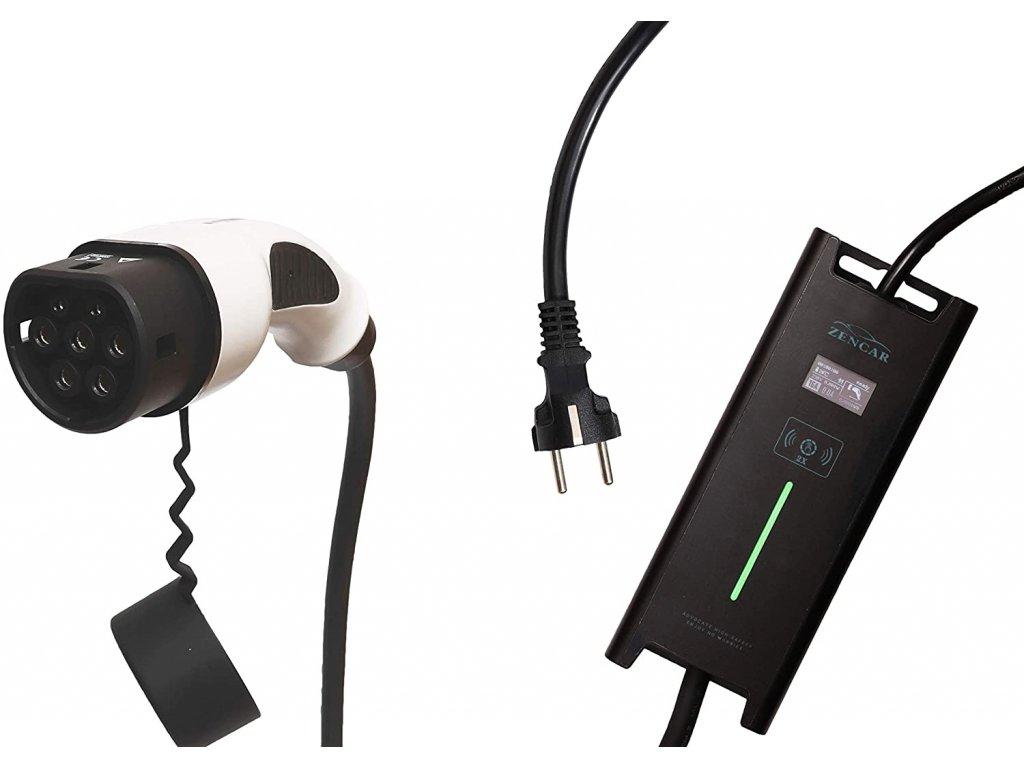 ZENCAR EVSE nabíjačka Typ 2, Schuko 230V, 3,6 kW pre elektrické autá, prepínateľný box 6A/8A/10A/12A /16A s displejom, dĺžka 10m