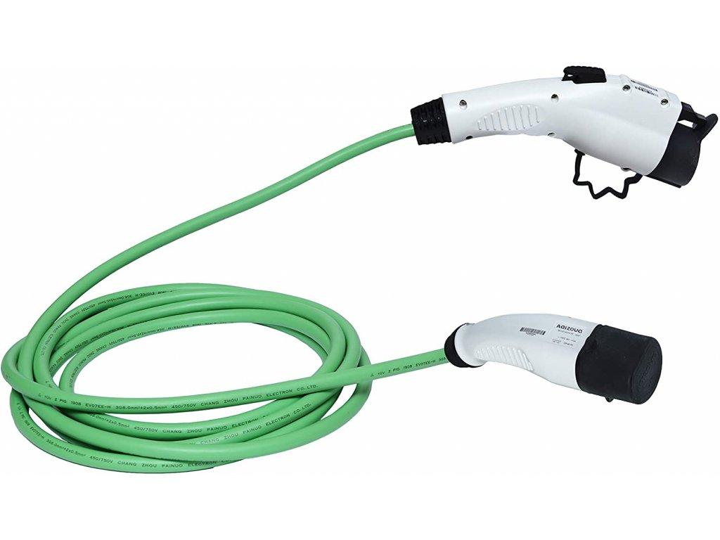 ZENCAR EVSE nabíjací kábel pre elektrické vozidlá TYP 1 - TYP 2 16A 3,6 kW zelený, 6m, prepravná taška zadarmo, 16 A