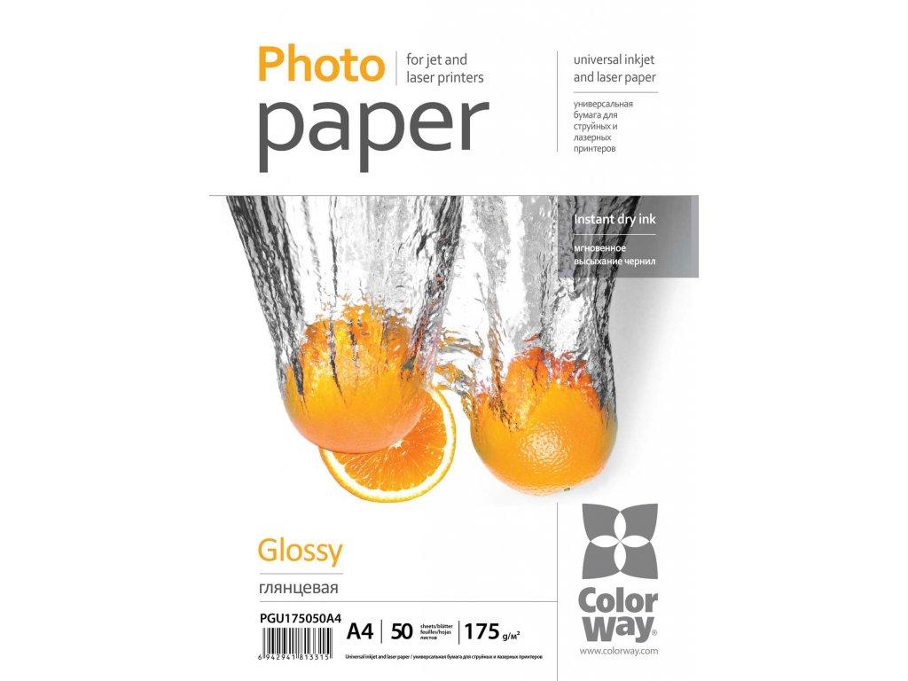 Fotopapier ColorWay Univerzálny Vysokolesklý 175g/m²,50ks,A4