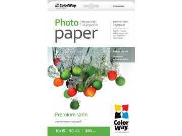 Fotopapier CW Saténový,mikroporézny 260g/m²,50ks,10x15