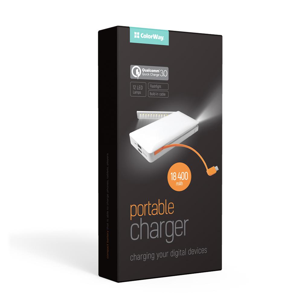 PowerBank ColorWay QC 3.0 18400 mAh White, LED (CW-PB184LPA2W-Q3F)