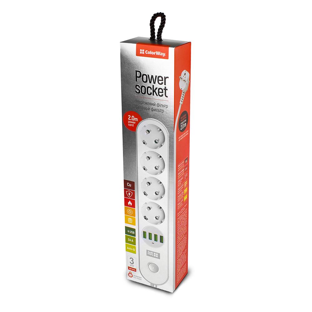 Predlžovací kábel ColorWay 4x eurozásuvka, 4x USB biela
