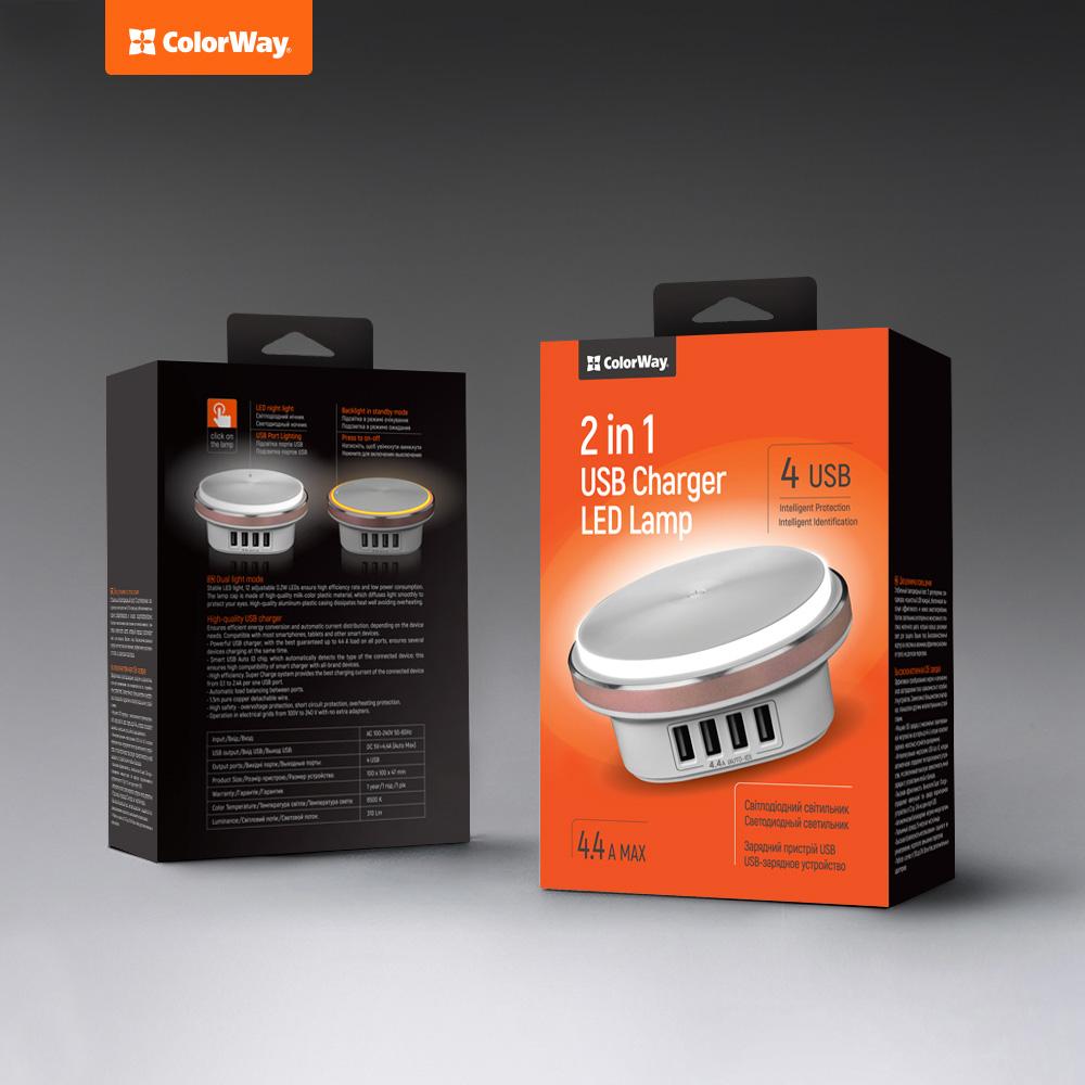 LED lampa a USB nabijáčka ColorWay 4x USB 4.4.A biela