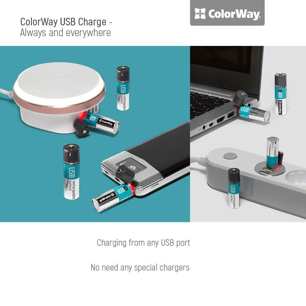 Nabíjateľné batérie ColorWay AA USB 1200mAh 1.5V - 2ks