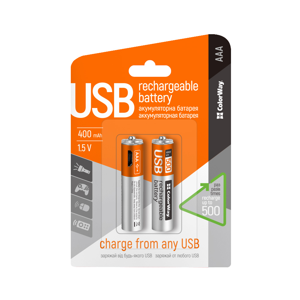 Nabíjateľné batérie ColorWay AAA micro USB 400mAh 1.5V - 2ks