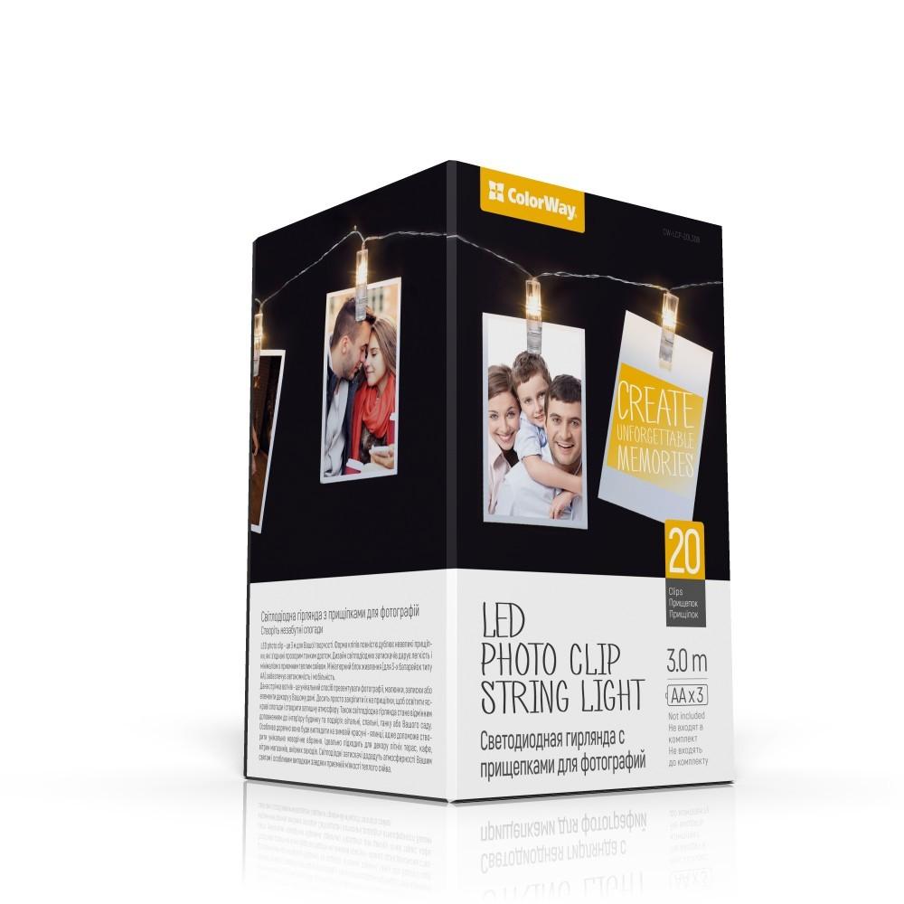 LED foto reťaz so štipcami ColorWay - 20LED/3m