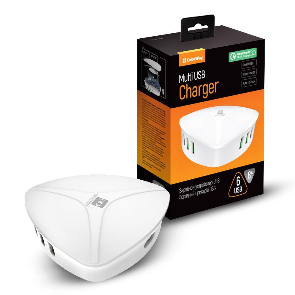 AC nabíjačka ColorWay 6xUSB 8A biela Quick Charge 3