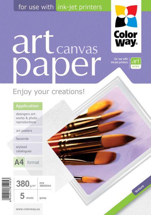 ColorWay Fotopapier CW ART Cotton Canvas (foto plátno) 380g/m²,5ks,A4