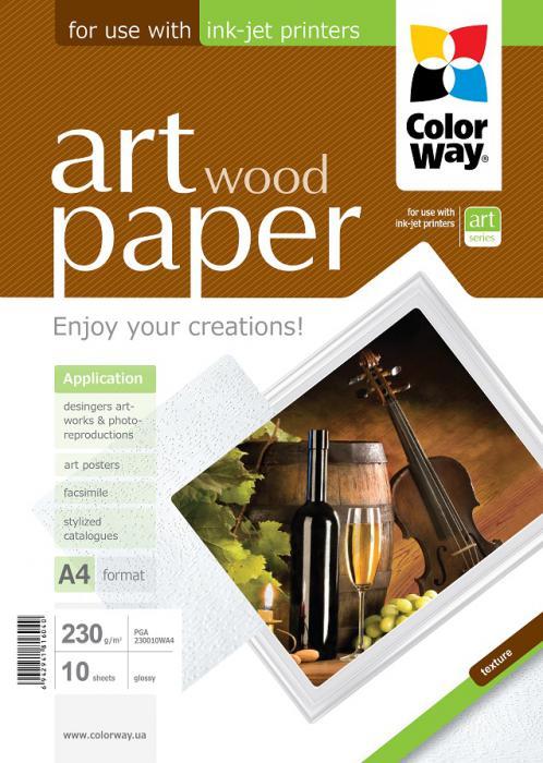 "ColorWay Fotopapier CW ART Lesklý ""Wood"" 230g/m²,10ks,A4"
