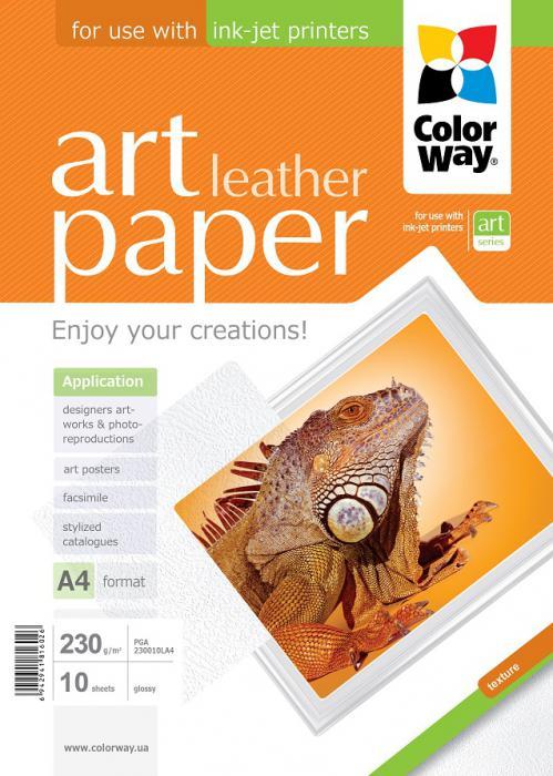 """ColorWay Fotopapier CW ART Lesklý """"Leather"""" 230g/m²,10ks,A4"""