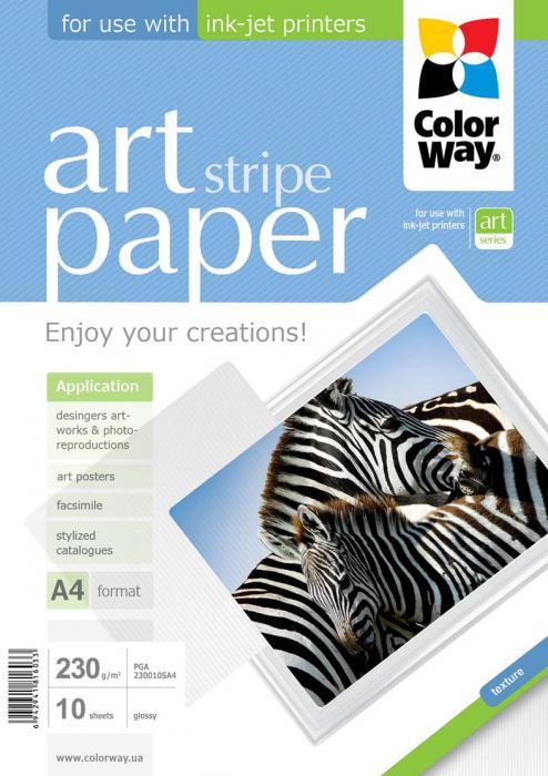 """ColorWay Fotopapier CW ART Lesklý """"Stripe"""" 230g/m²,10ks,A4"""