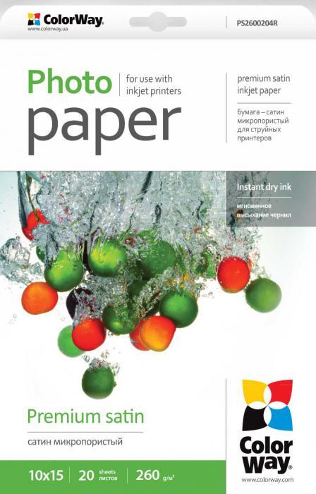 ColorWay Fotopapier CW Saténový,mikroporézny 260g/m²,20ks,10x15