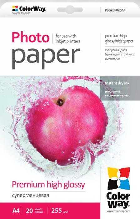 ColorWay Fotopapier CW Super lesklý mikroporézny 255g/m²,20ks,A4