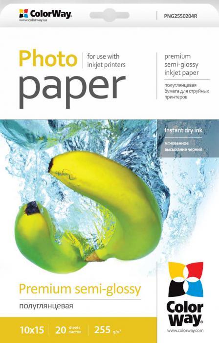 ColorWay Fotopapier CW Super pololesklý mikroporézny 255g/m²,20ks,10x15
