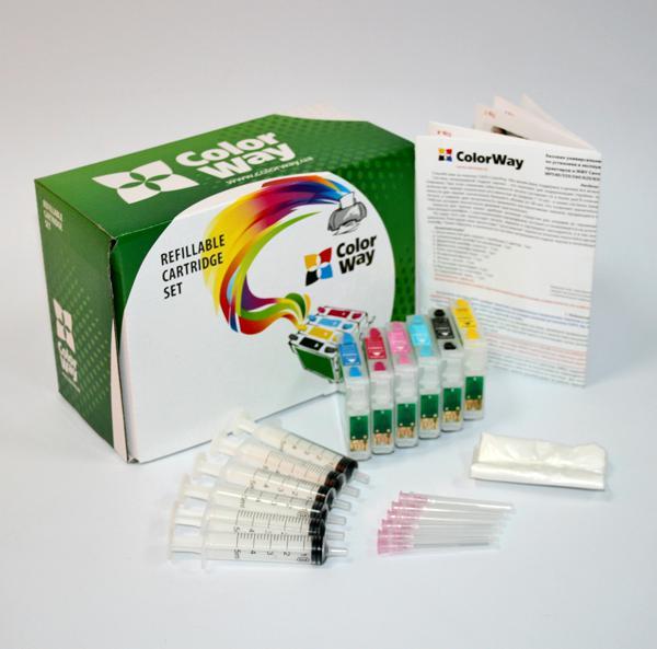 ColorWay Plniteľné kazety CW Epson P50/PX700/P800 (T0801-T0806) bez atramentov