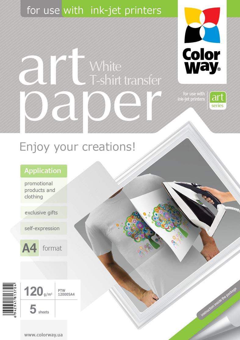 ColorWay Nažehľovací papier CW na svetlý textil 120g/m²,A4,5ks