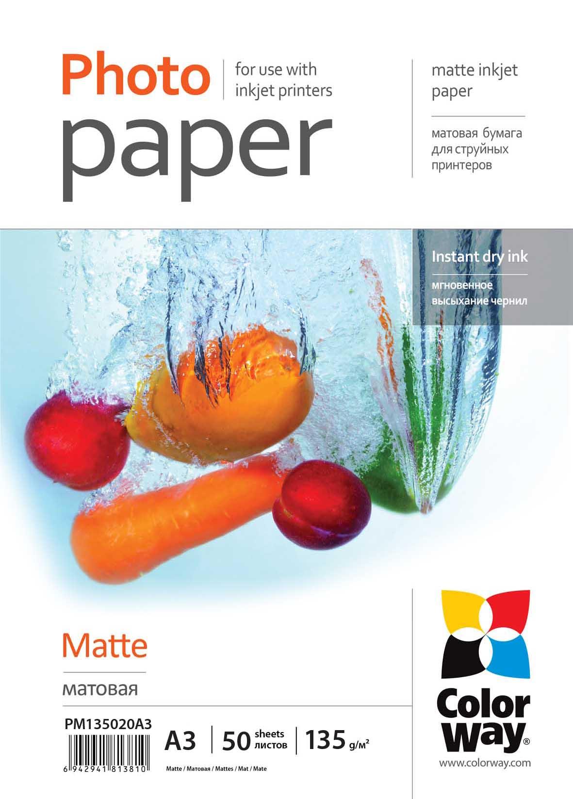 ColorWay Fotopapier CW Matný 135g/m²,20ks,A3