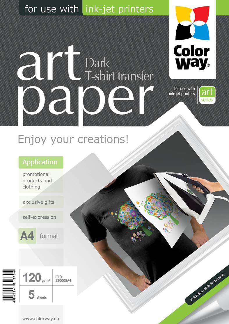 ColorWay Nažehľovací papier CW na tmavý textil 120g/m²,A4,5ks