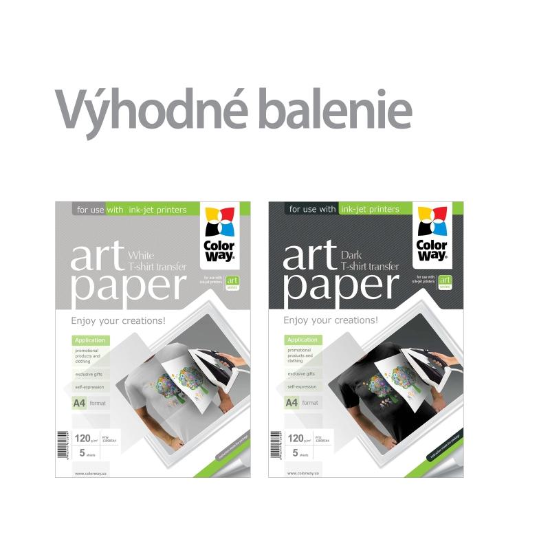 ColorWay Nažehľovací papier CW 120g/m²,A4, 2x5ks (svetlý + tmavý) - set