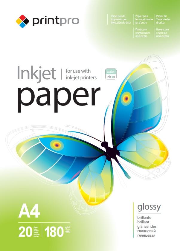 PrintPro Fotopapier PP Vysoko lesklý 180g/m²,20ks,A4